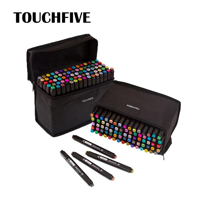 Touchfive Colors Marker Pen Art Design Sketch Markers Drawing Painting Sketchbook 30 40 60 80 168 Colors Dual Tip Alcohol Marker