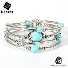 Women Men Natural Stone Amethysts Bracelets Multilayer Copper Tube Lave Rock Tiger Eye Fluorite Onyx Beads Bangle Boho Jewelry