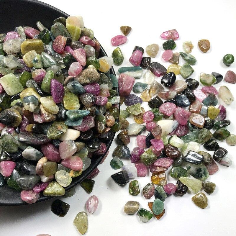 Опт, 100 г, 8-12 мм, натуральный Радужный турмалиновый гравий, полированный, с камнями и кристаллами