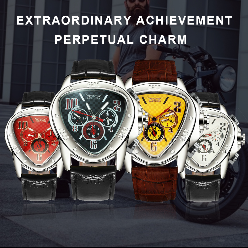 Fashion Luxury Men Automatic Mechanical Wrist Watches Top Brand WINNER Triangle Men's Watches 3 Sub-dials 6 Hands reloj hombre 2