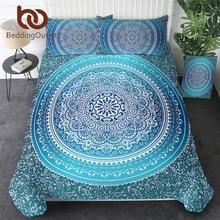 BeddingOutlet Luxury Boho Bedding Set Queen Crystal Arrays Duvet Quilt Cover with Pillowcase Blue Printed Bedspread 4Pcs