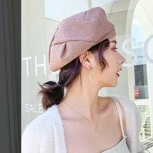 Женский берет осенне зимняя шапка художника сетчатая красная