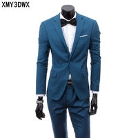 (jacket+pants) 2018 Custom made Mens Light Gray Suits Jacket Pants Formal Dress Men Suit Set men wedding suits groom tuxedos