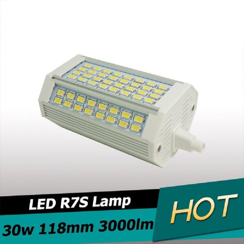 Novo design 30w led r7s luz 118mm nenhum fã pode ser escurecido r7s lâmpada j118 r7s comida luz 3 anos de garantia AC110-240V