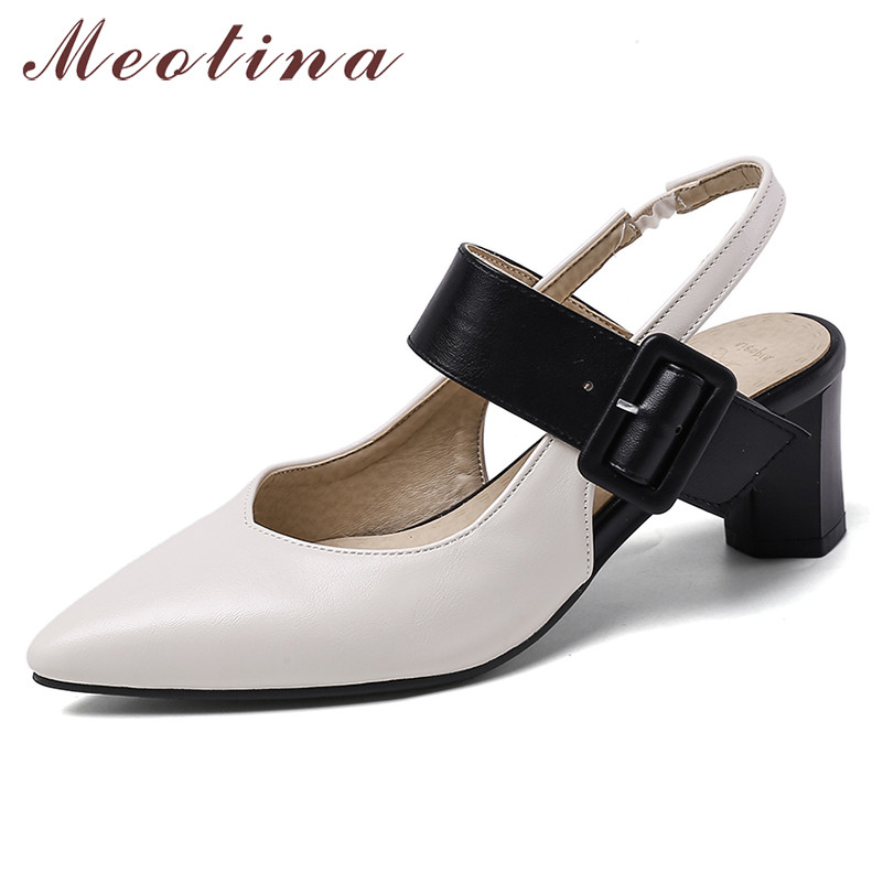 Meotina High Heels Women Pumps Buckle Strange Style High Heels Slingbacks Shoes Mixed Colors Pointed Toe Shoes Lady Plus Size 46
