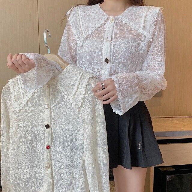 Long Sleeve Lace Blouse Shirt Blouse Women Blusas Mujer De Moda 2021 Beading Turn Down Collar Blouse Blusa Women Blouses E297 2
