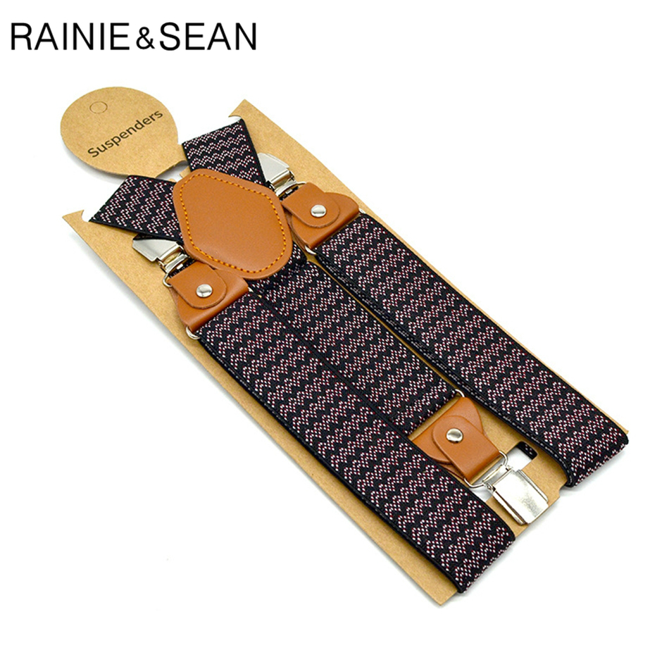 RAINIE SEAN Mens Suspenders Braces Elastic Mens Trouser Belt 3.5cm*120cm Braces Straps Houndstooth Y Back Male Suspender Clips 3