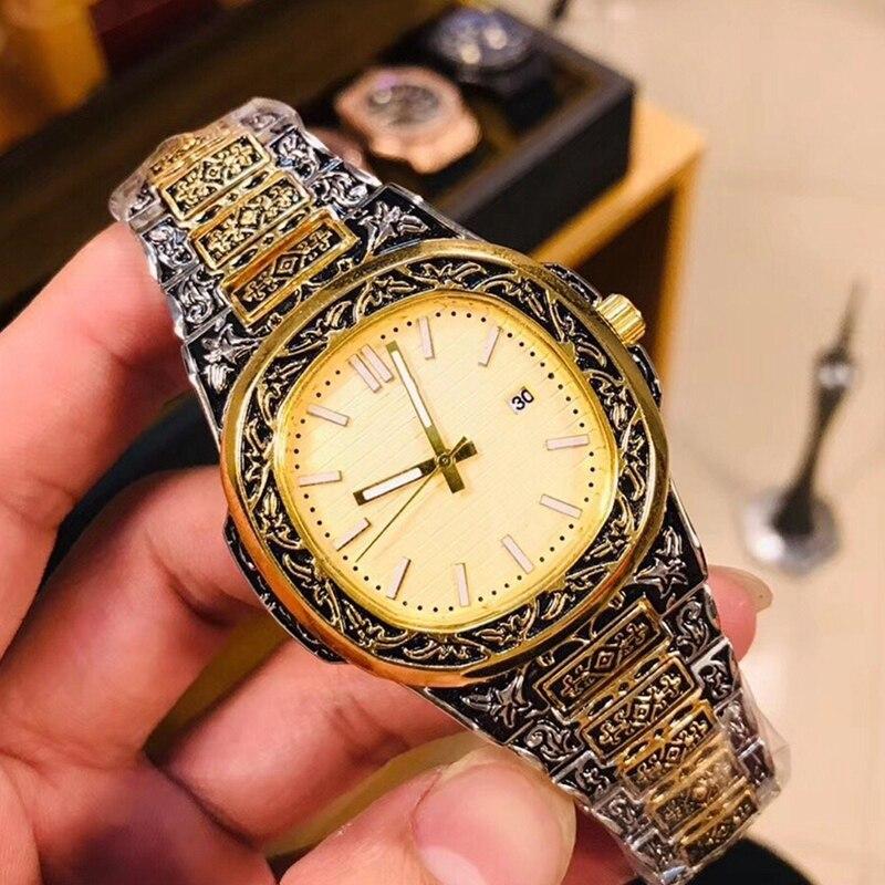 Top Brand Men Quartz Watches Luxury Vintage Engraving Steel Patek Watches AAA Male Nautilus Sport Wrist Watch