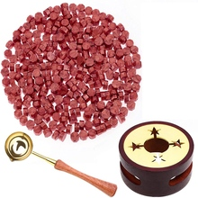 Red Wax for Letters Stamp Seals Sealing Wax Kit with Wax Seal Beads Wax Seal Warmer Wax Spoon and Candles