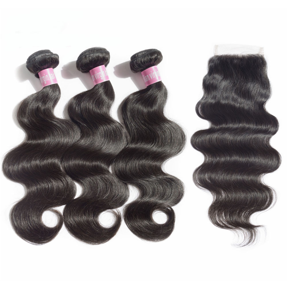 JayMay Body Wave Bundles With Closure 5x5 Closure With Human Hair Bundles Peruvian Virgin Lace Front Closure Extension 8-30inch