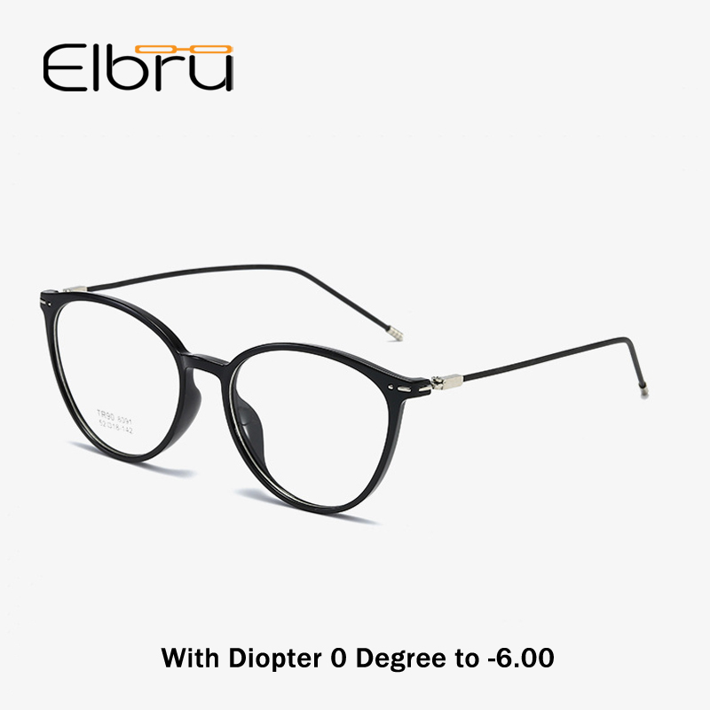 Elbru Cat Eye Finsihed Myopia Glasses With Diopter 0 -0.5 1.0 1.5 2.0 2.5 3.0 3.5 4.0 4.5 5.0 5.5 6.0 Nearsighted Eyeglasses