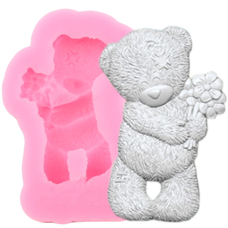 3D Bear Silicone Molds Chocolate Fondant Mold Sugarcraft Cake Decorating Tools DIY Cupcake Topper Candy Polymer Clay Moulds