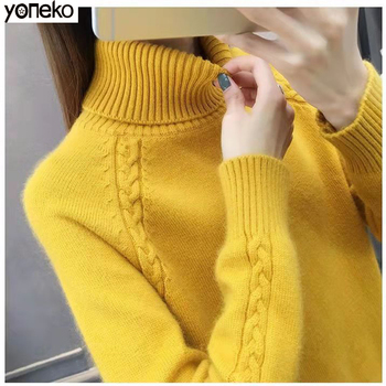 Korean Turtleneck Sweater Knit Warm Women Sweater Solid Color Loose Long Sleeve Pullover Sweater Autumn and Winter Thickening color block mixed knit pullover sweater