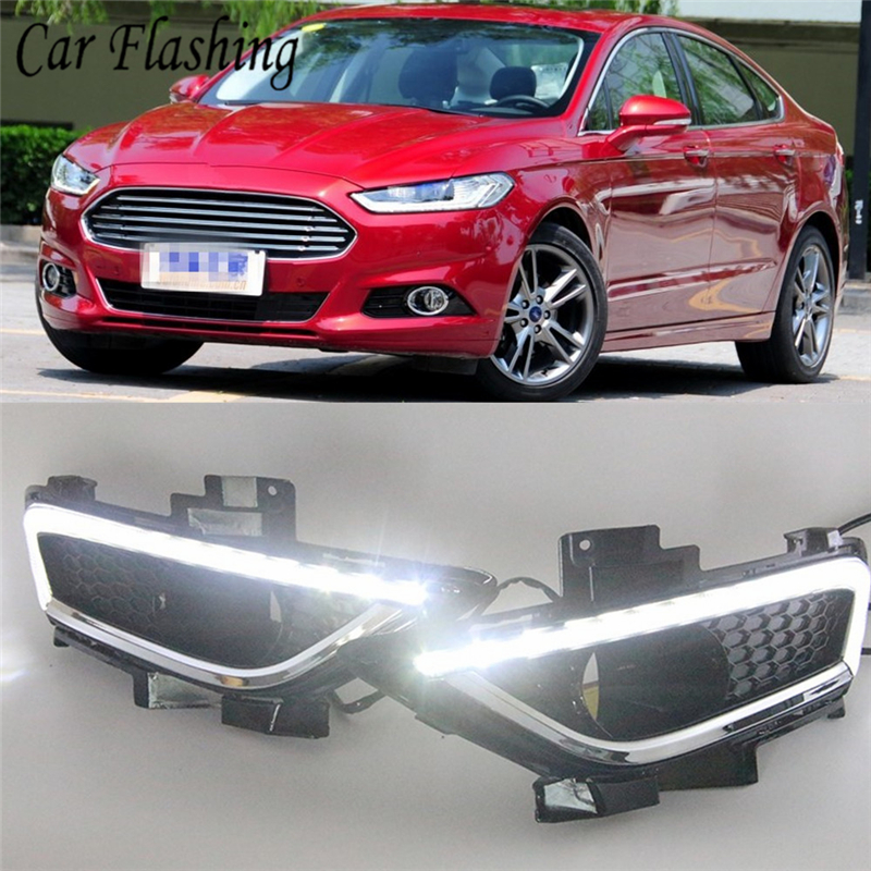 For Ford Fusion Mondeo 2013-2014 2 White LED Daytime Day Fog Lights DRL Run lamp