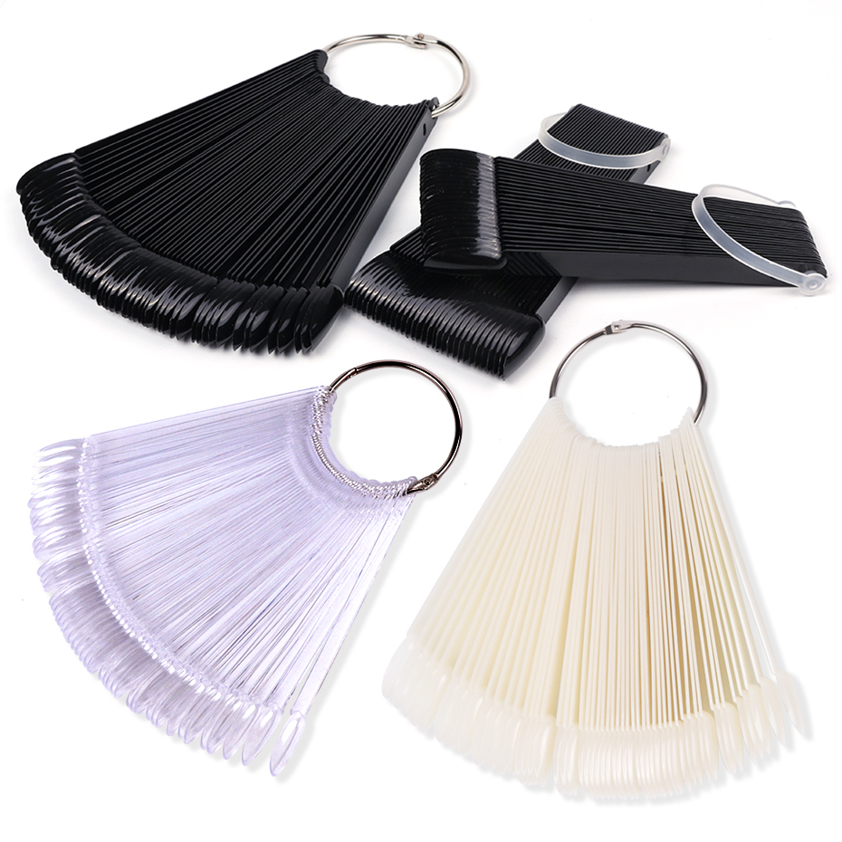 Clear Nature Black False Tips For Nail Art Display Oval Fan Style Nail Swatch Polish Stand Tips Practice Manicure Tools BEA23-1 1