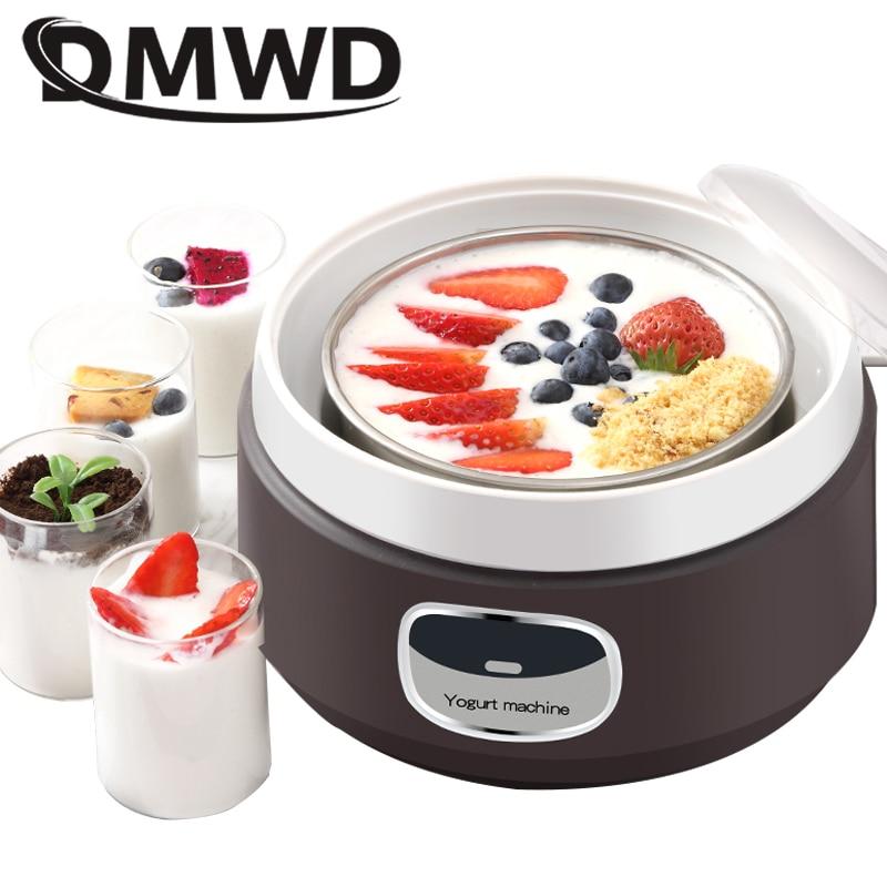 DMWD household electric yogurt maker 1L automatic multifunctional DIY mini yogurt machine ,brown