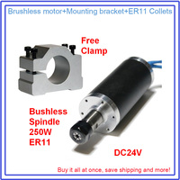 Brushless Spindle 250W 10A 53Ncm 12000rpm 24VDC Motor & Clamp ER11 Collets Match MACH3 Router for Metal Wood Plastic PVC