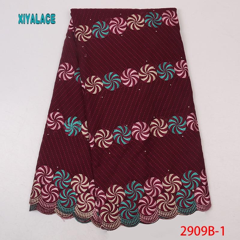 2019 New African High Quality Dress Fabric, Nigerian Embroidery Printed Switzerland Lace Fabric 100% Cotton YA2909B-1