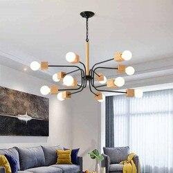 Nowoczesne LED żyrandol do salonu drewno nabłyszczania drewniane żyrandole wiszące jadalnia światła biały oprawy kuchenne