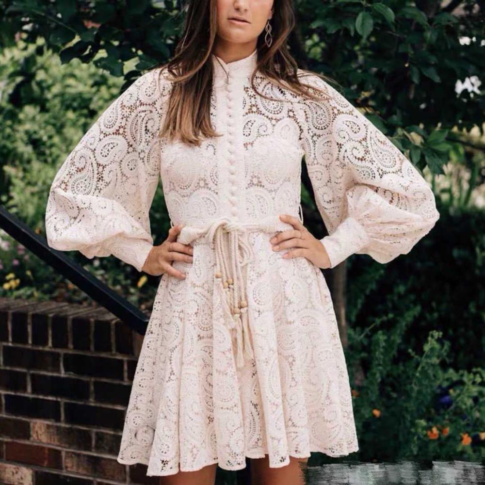 Image 4 - MoaaYina Fashion Designer Runway dress Autumn Winter Women Dress  Puff Sleeve Lace Hollow Out Lace Up DressesDresses