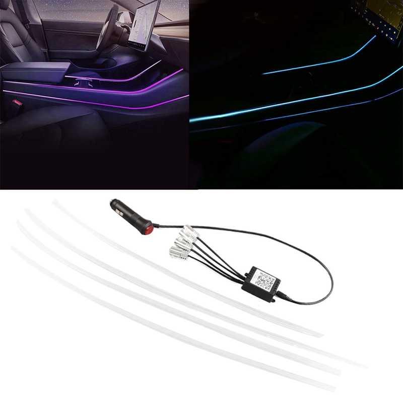 Neon ışık tüpleri ve kapı çıkış çıkartması seti Tesla modeli 3, RGB iç LED şerit işıklar App denetleyicisi ile