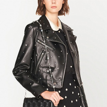 Women's Quality Genuine Leather Jacket Ladies Fashion Rivet Real Sheepskin Blazer