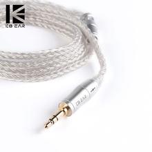 Kbear 16 núcleo prata cabo com 2.5/3.5/4.4 fone de ouvido cabo para c10 zs10 blon bl-03 zsx ba5
