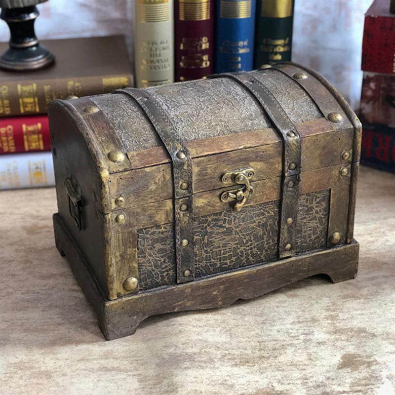 Antique Wood Treasure Chest Jewelry Storage Box Case Home Accessory A