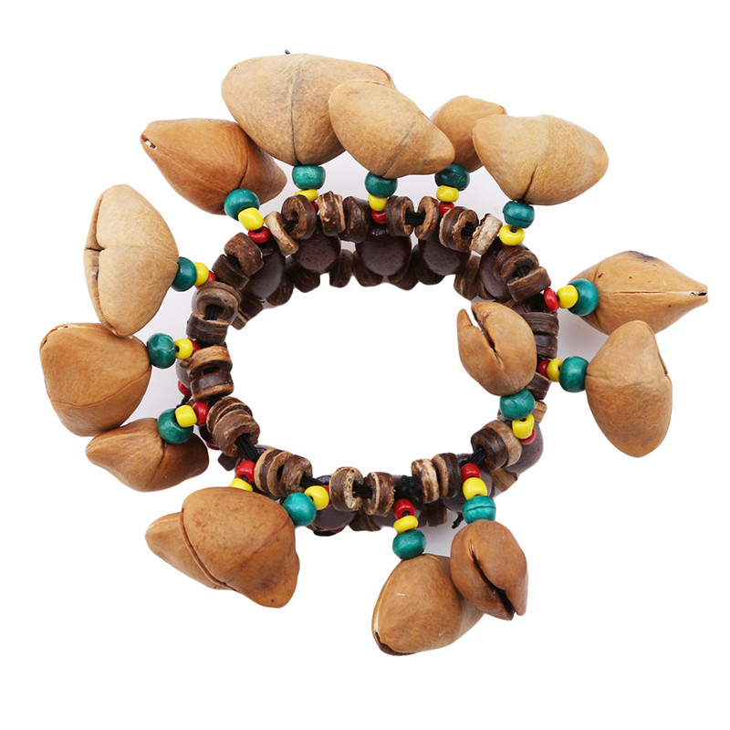 Handmade Nuts Shell Bracelet Handbell For Djembe African Drum Conga Percussion Accessories Kids Toy