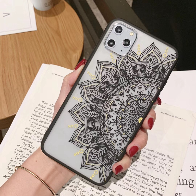 Tfshining Retro Lace Flowers Phone Case For iPhone 11 Pro XR X XS Max 6s 7 8 Plus Case Mandala Henna Soft TPU Back Cover Coque