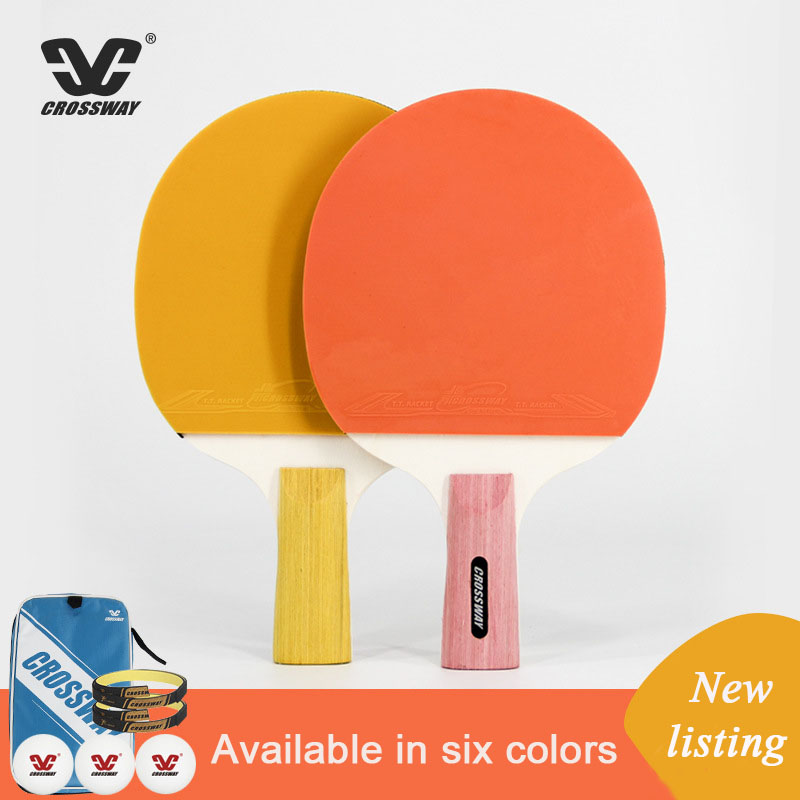 Colorful Crossway Table Tennis Racket 7 Layer Board Reverse Glue Professional Ping Pong Racket Beginner Training With Suit