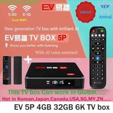 """[אמיתי] 2021 EV tvbox 5P/5S/מקסימום 6K AI קול כפולה WIFI חכם טלוויזיה תיבה חמה למכור ביפן קוריאה ארה""""ב קנדה NZ AUS pk evpad בתוספת"""