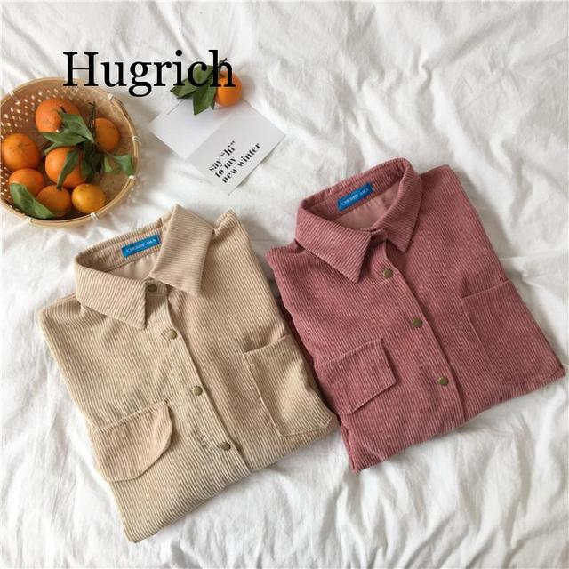 2020 Spring and autumn Loose Shirts Korean Solid Blouse Long Sleeve Corduroy blouses Women Tops outwear coats 5