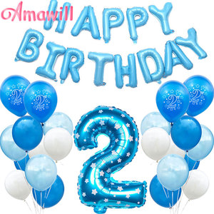 Amawill 2 Years Happy Birthday Pink Blue Number Latex Balloons Boy Girl 2nd Birthday Party Decorations Kids Baby Shower 5D