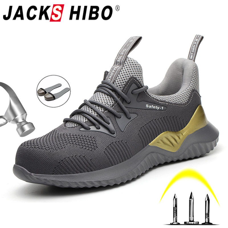 JACKSHIBO  Safety Work Shoes Boots For Men Steel Toe Cap Boots Anti-Smashing Protective Construction Safety Work Sneakers