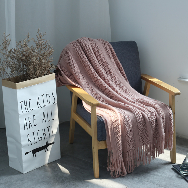 Nordic Knitted Blanket Travel Blanket Grey Khaki Sofa Throw Blanket with Tassels Air Condition Blankets 127x170cm/127x220cm-2