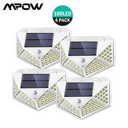 4 pçs/lote novas luzes solares ao ar livre mpow 100 leds jardim sensor de movimento luz atualizar grande angular sem fio luzes parede à prova dwireless água