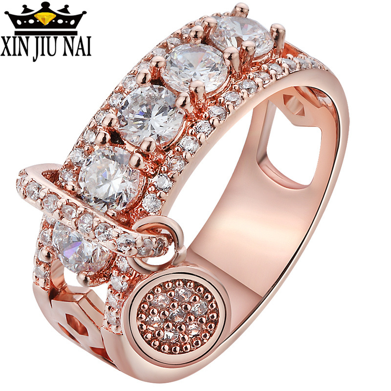 925 Silver Internet Celebrity Ring Rotatable Female Crystal From Austrian Simple Temperament Couple Rhinestone InlayZC Jewelry