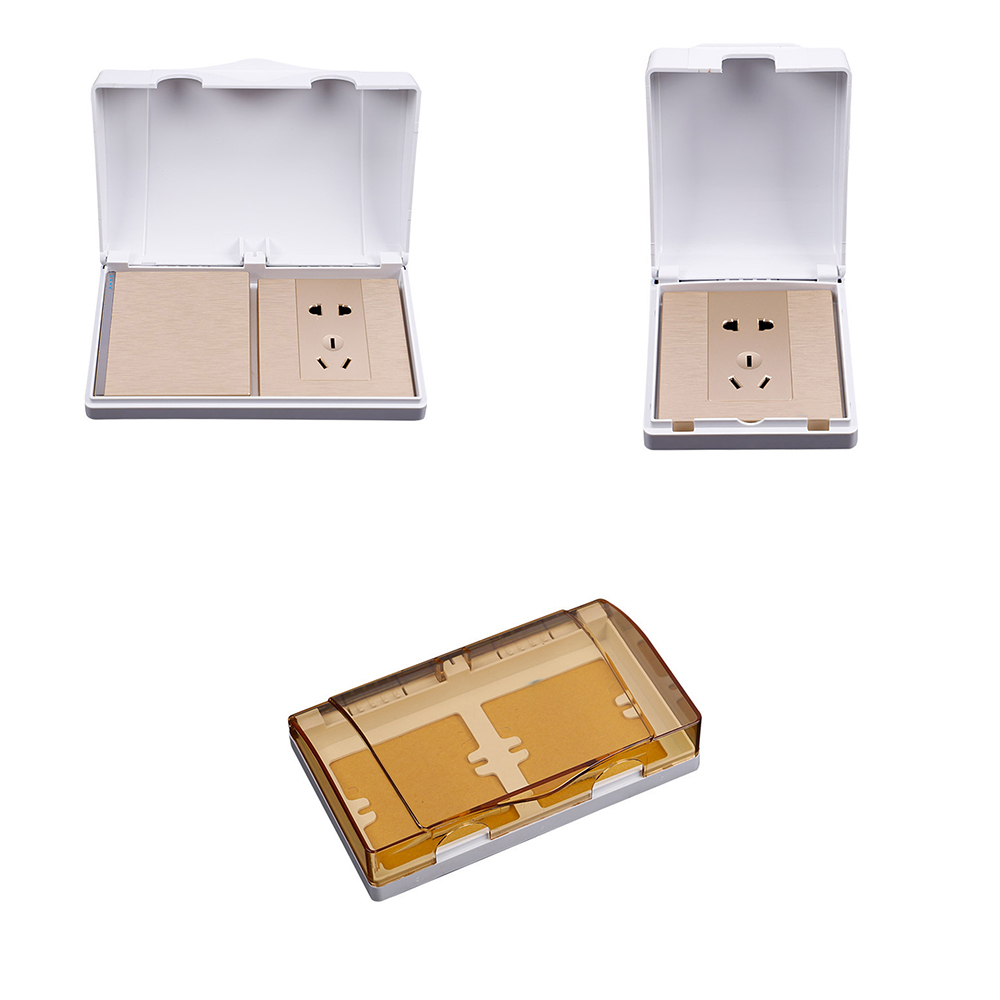 UK Style White Double Socket Protector Electric Plug Cover Baby Child Safety Box