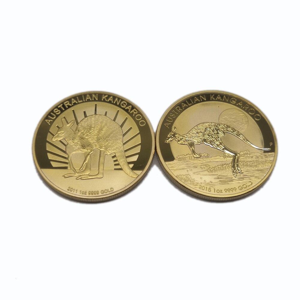 Austrália banhado a ouro moeda canguru moedas de ouro réplica elizabeth lembrança presentes