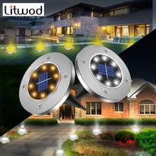 Luz de suelo Solar para exteriores, lámpara Led de Decoración de paisaje para jardín, reflectores, 8 bombillas Led de Color blanco y cálido, 2 años