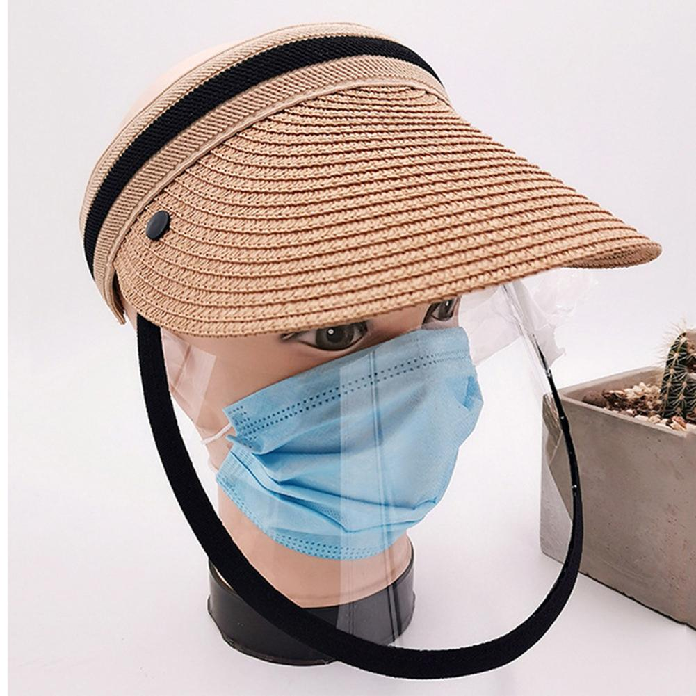 2019 New Simple Summer Straw Sun Hat Unisex Detachable Anti-Spitting Backable Sun Visor Hat Wide Brim UV Protection Female Cap