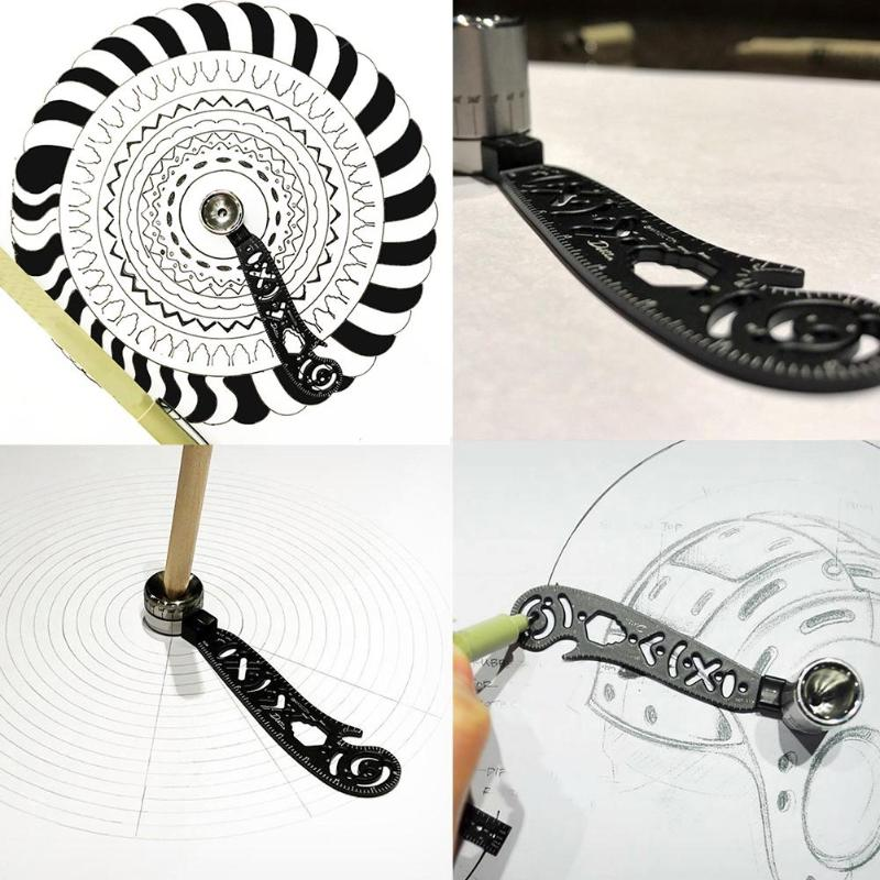 Multi-functional Mini Wrench Bottle Opener Metal Circles Draw Measuring Ruler Magnetic Straight Arc Compass Rulers Drawing Tool