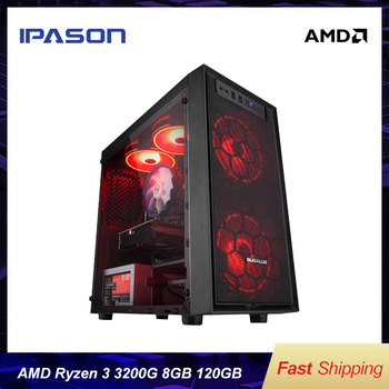 IPASON-E1 mini-Gaming PC AMD Ryzen3 2200G/3200G/200GE D4 8G 120G SSD Desktop Computer HDMI/VGA LOL/CSGO/DOTA For Gamers Computer 2