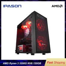 IPASON-E1 mini-jogo amd ryzen 3 2200g/3200g ddr4 4g/8g 120g ssd desktop computador hdmi/vga lol/csgo/dota para computador dos jogadores