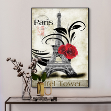Red Rose Paris Eiffel Tower Vintage Stamp Poster Oil Painting on Canvas Posters Prints Wall Picture Art for Living Room Cuadros