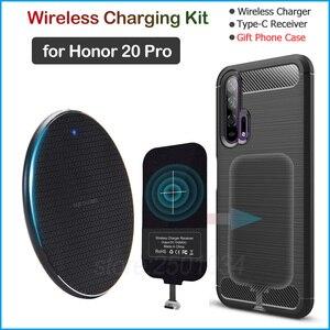 Image 1 - Chargeur sans fil pour Huawei Honor 20 Pro Qi chargeur sans fil + USB Type C récepteur adaptateur cadeau coque souple en TPU pour Honor 20 Pro