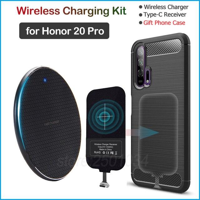 Chargeur sans fil pour Huawei Honor 20 Pro Qi chargeur sans fil + USB Type C récepteur adaptateur cadeau coque souple en TPU pour Honor 20 Pro