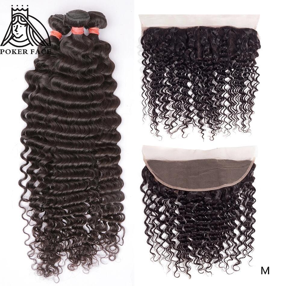 8-30 32 40 Inch Deep Wave Brazilian Hair Weave Human Hair 3 4 Bundles With Lace Frontal  Deep Remy Hair Double Drawn Bundles