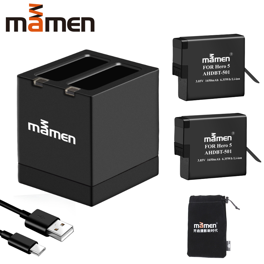 Mamen <font><b>Gopro</b></font> AHDBT 501 Sport Camera <font><b>Battery</b></font> 1650mAh + Type-C Dual Charger for <font><b>GoPro</b></font> <font><b>Hero</b></font> 5 6 7 Black Sports Action Camera <font><b>Battery</b></font> image